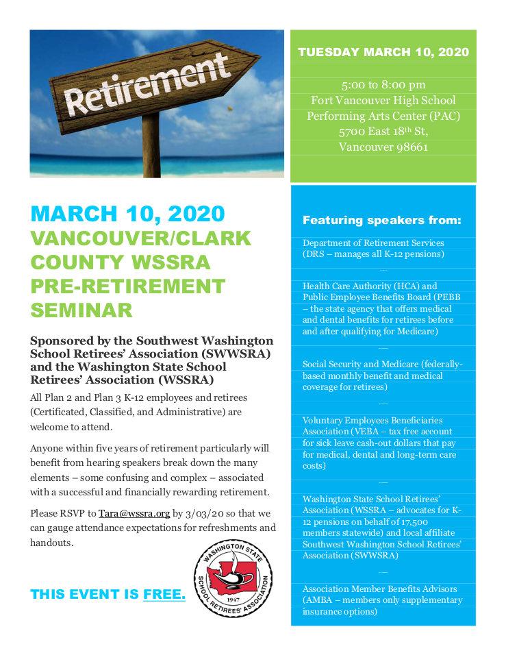 Vancouner/Clark county WSSRA Pre-retirement Seminar